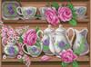CDPA1868  Collection D'Art Stamped Cross Stitch Kit 30x40cm-Rose Dinnerwear Set