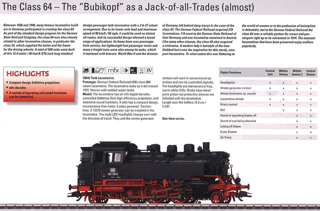 M39643  2011 Qtr. 1 Digital DB cl 064 Bubikopf Tank Locomotive (L) (HO Scale)