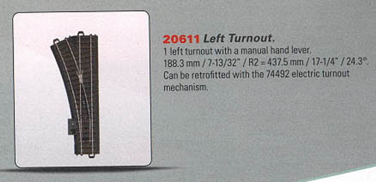 W441-20611  3-Rail C Track - My World -- Manual Turnout - Left-Hand
