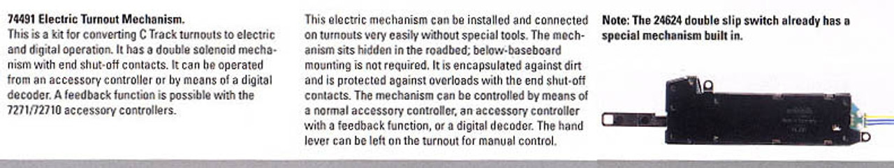 74491 C-Track Digital-Ready Turnout Motor -- Does Not Include Digital Decoder or Accessory Controller (Not for use w/24624)