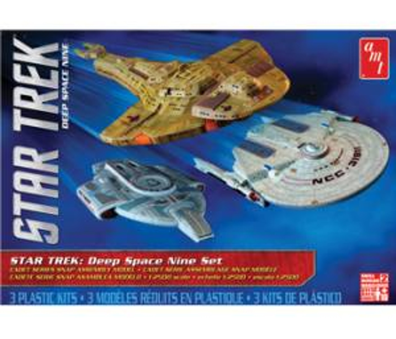 AMT764  Star Trek Cadet Series Deep Space 9 - 3 ship set SNAP