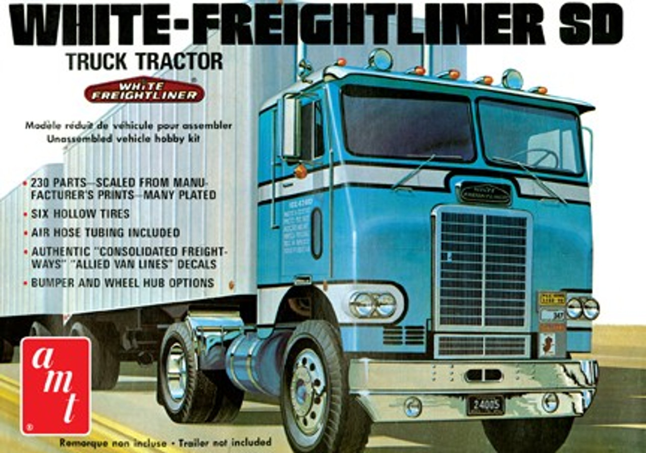AMT-1004  1/25 White Freightliner Single-Drive Tractor Cab