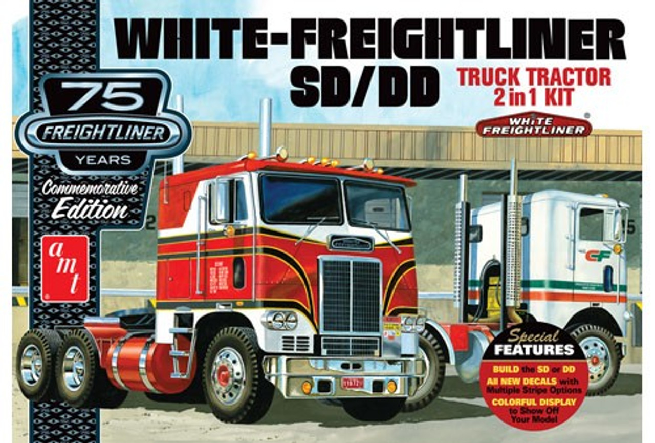 AMT-1046  1/25 White Freightliner SD/DD Tractor Cab 75th Anniversary (2 in 1)