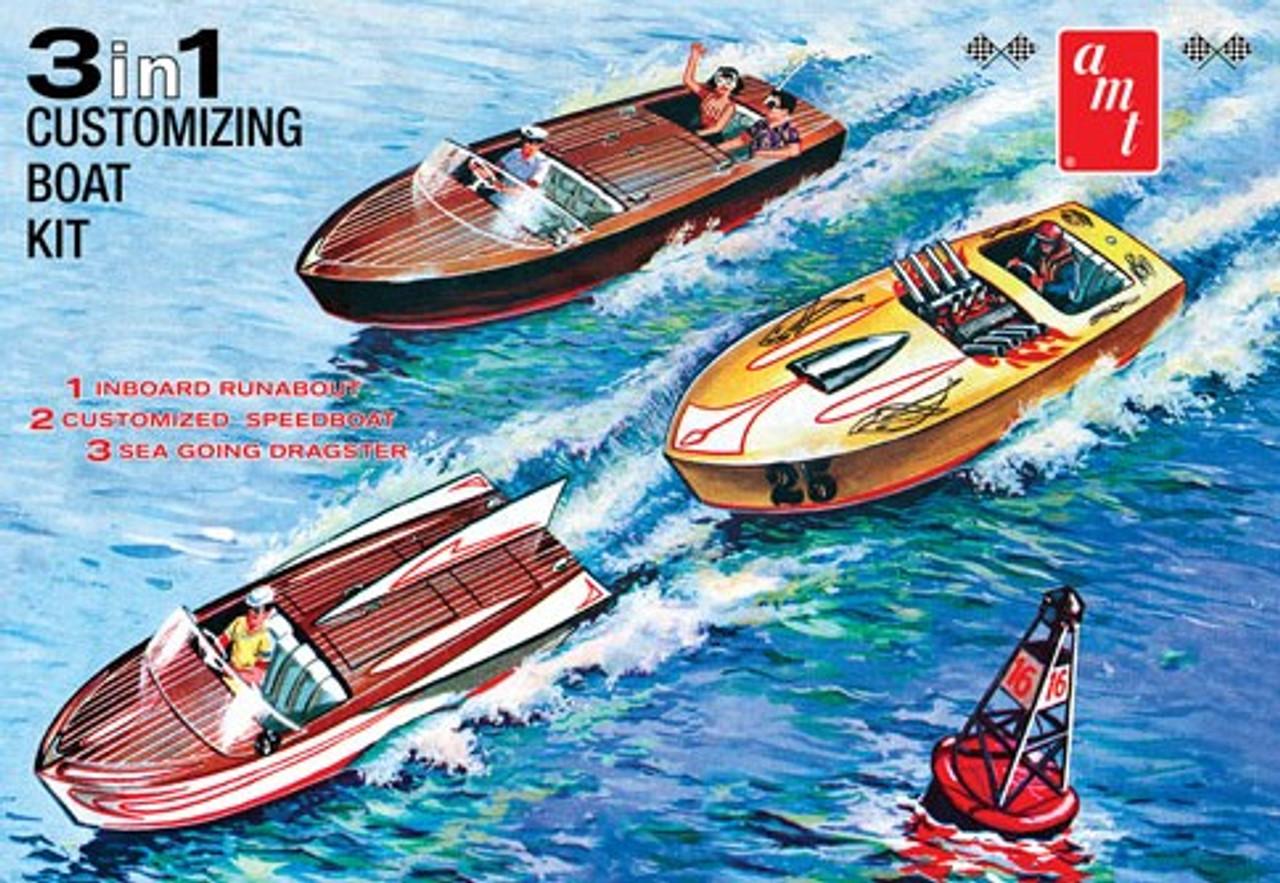 AMT-1056  1/25 Customizing Boat w/Trailer (3 in 1)
