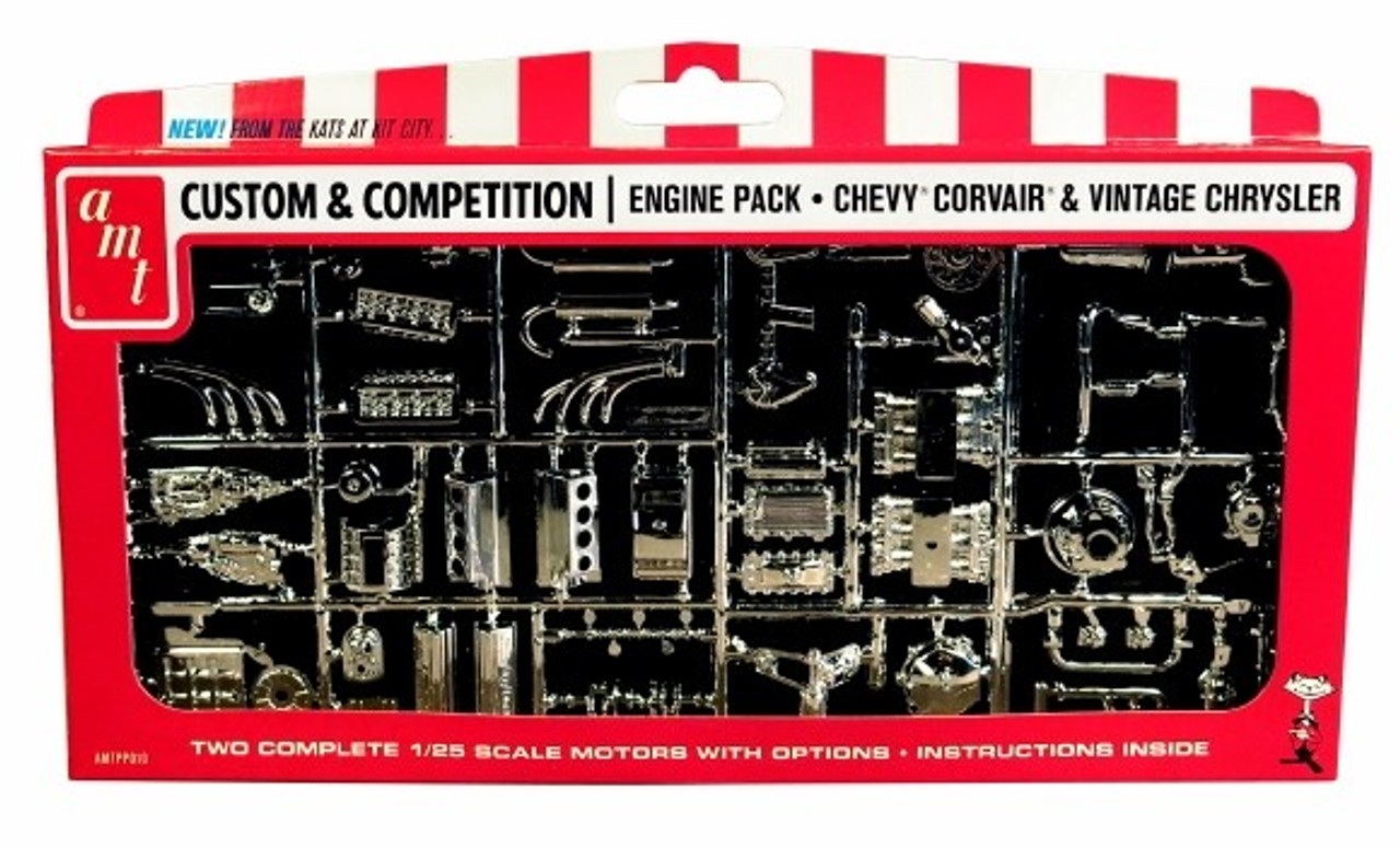 AMT-PP10  1/25 1/25 Chevy, Corvair & Vintage Chrysler Chrome-Plated Engine Pack