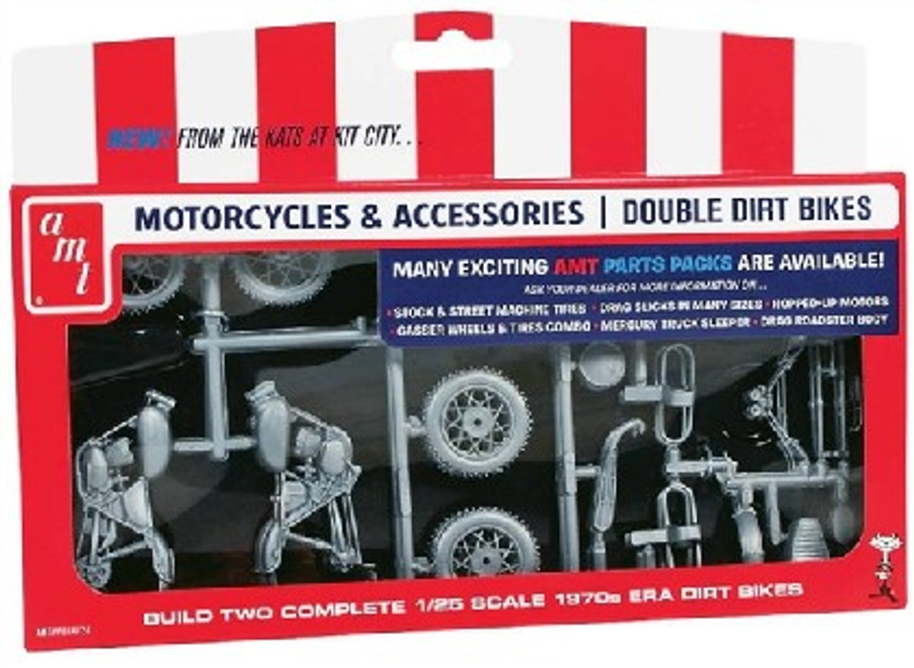 AMT-PP14  1/25 1970s Double Dirt Bike Motorcycle Pack (2 Kits)