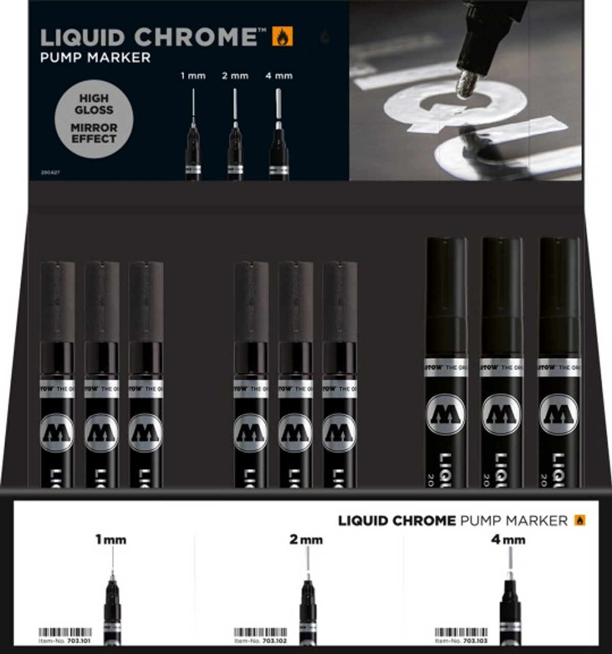 Liquid Chrome Markers Counter Display (12 each 1mm, 2mm, 4mm. Free display)