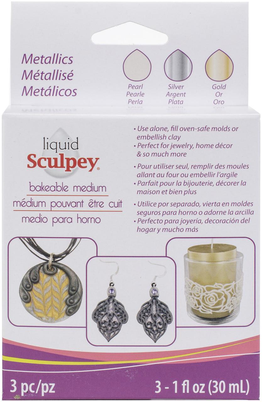 ALSMET1  Sculpey Liquid Metallics 3/Pkg-Pearl, Silver, Gold