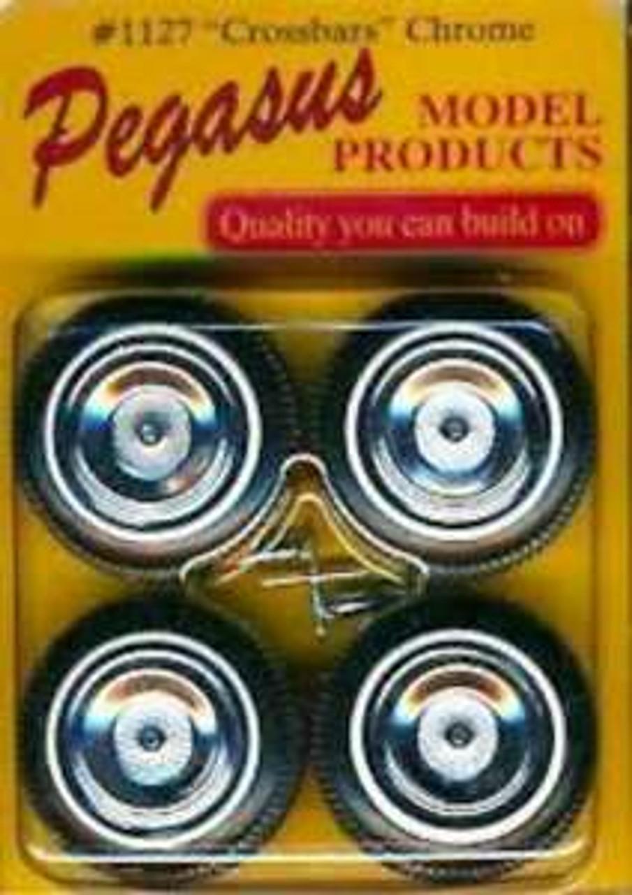 PGH-1127  1/24-1/25 Crossbars Chrome Rims w/Tires (4)