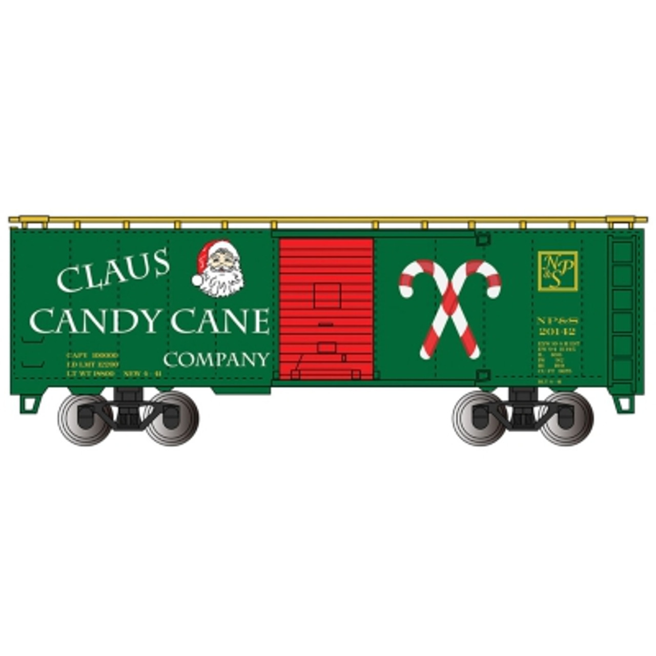 BAC17007  HO 40' PS-1 Box, Claus Candy Cane Co
