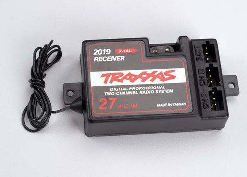 Receiver, 2-channel 27MHz, without BEC (for use with electronic speed control)