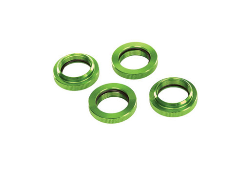 Spring retainer (adjuster), green-anodized aluminum, GTX shocks (4) (assembled with o-ring)