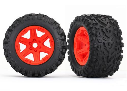 Tires & wheels, assembled, glued (orange wheels, Talon EXT tires, foam inserts) (2) (17mm splined) (TSM rated)