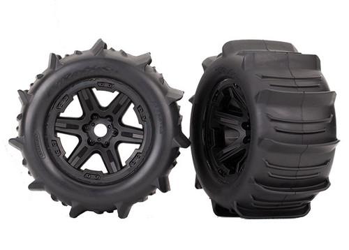 Tires & wheels, assembled, glued (black 3.8' wheels, paddle tires, foam inserts) (2) (TSM rated)
