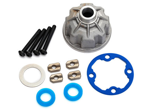 Carrier, differential (aluminum)/ x-ring gaskets (2)/ ring gear gasket/ spacers (4)/ 12.2x18x0.5 metal washer