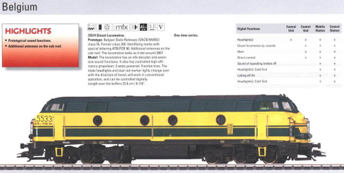 M37674  2010 Qtr.1 Digital SNCB/NMBS class 5533 Diesel Locomotive with Sound (L)