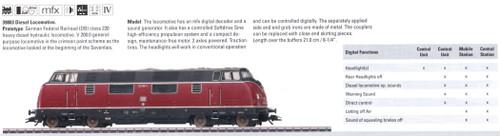 M39803  2009 Qtr.2 Dgtl DB Era IV Cl. 220 Diesel Locomotive