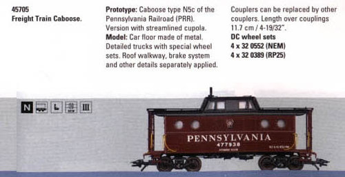 M45705  2005Q4 PRR type N5c Caboose (E)