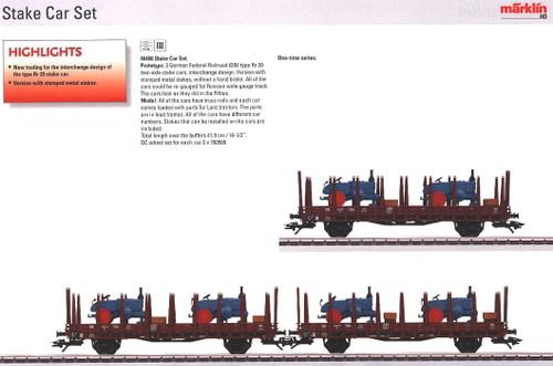 M46400  2011 Qtr.4 DB Lanz Stake 3-Car Set with Load (L) (HO Scale)