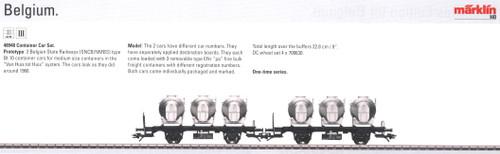 M48948  2009 Qtr.2 SNCB/NMBS Era III Container Car Set (L) - Discontinued