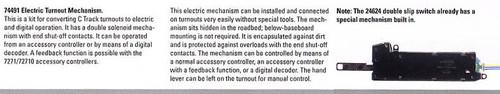 M74491  2011 Qtr. 2 Electric Turnout Mechanism C Track