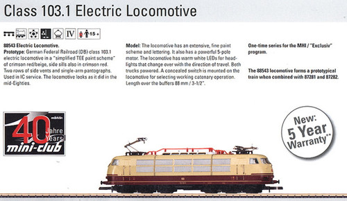 M88543  2013Q? DB Class 103.1 Electric Locomotive Excl. 3/2012 (Z Scale)