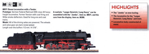 M88971  2008Q3 DB cl 44 Long Henry Steam Loco w/Tender (L) - Discontinued
