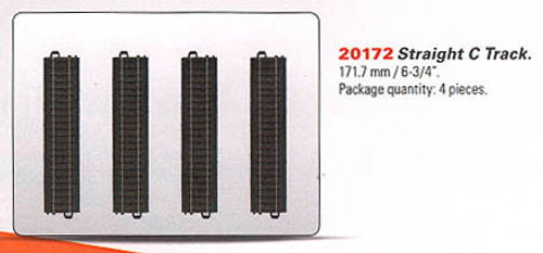 "W441-20172  3-Rail C Track - My World -- Straight Sections pkg(4) 6-3/4""  17.2cm"