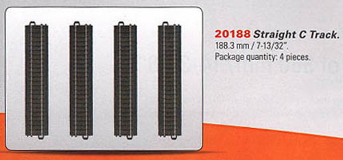 "W441-20188  3-Rail C Track - My World -- Straight Sections pkg(4) 7-13/32""  18.8"