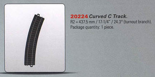 """W441-20224  My World C Track -- Curved Section Turnout Branch 17-1/4""""  43.8cm Ra"""