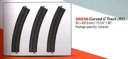 "W441-20230  3-Rail C Track - My World -- Curved Sections pkg(3) 17-1/4"" 43.8cm Radius R2 30-Deg (12 Sections = Circle)"