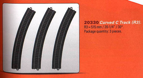 "W441-20330  3-Rail C Track - My World -- Curved Sections pkg(3) 20-1/4"" 51.5cm Radius R3 30-Deg (12 Sections = Circle)"