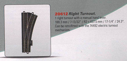 W441-20612  3-Rail C Track - My World -- Manual Turnout - Right-Hand