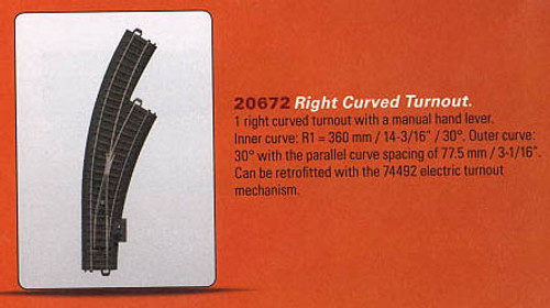 W441-20672  3-Rail C Track - My World -- Right Hand Manual Curved Turnout