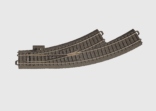 W441-24671  3-Rail C Track -- Left Hand Manual Curved Turnout