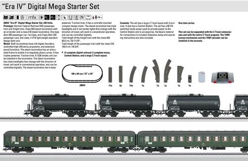 W441-29043  Era IV Mega Starter 2-Train Set - 3-Rail w/Digital -- German Federal Railroad DB (Era IV) 230 Volts