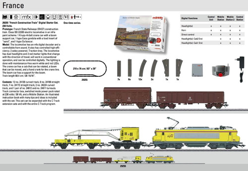 W441-29255  French Construction Train Starter Set - 3-Rail w/Digital & Mobile Station -- French State Railways SNCF (Era VI) 230 Volts