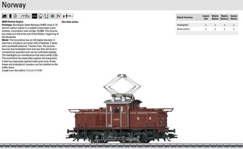 W441-36334  Class EL 10 Electric Switcher - 3-Rail w/Digital -- Norwegian State Railways NSB #10.2505 (Era III-IV, brown)