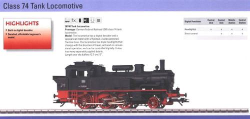 36740 Steam Class 74 Tank Loco, Digital -- German Federal Railroad