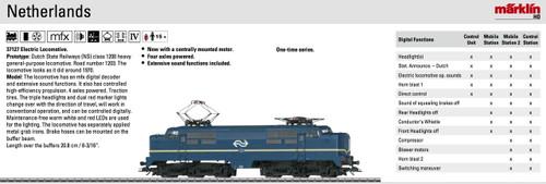 W441-37127  Class 1200 Electric - 3-Rail w/Sound & Digital -- Dutch State Railways NS #1203 (Era IV 1970; blue, yellow, white)