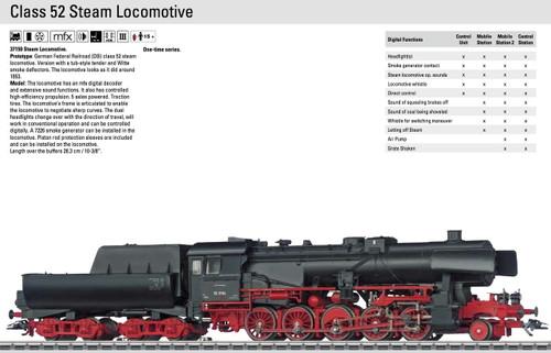 W441-37150  Class 52 2-10-0 w/Witte Deflectors & Tub Tender - 3-Rail w/Sound & Digital -- German Federal Railroad DB #52 3164 (Era III, black, red)
