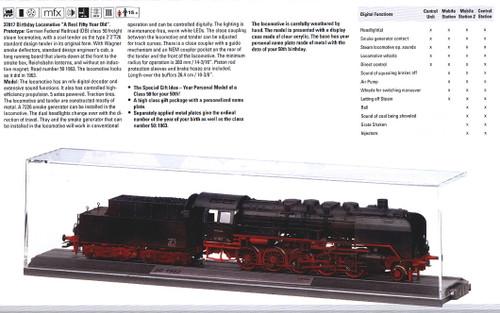 W441-37817  Class 50 2-10-0 w/Box-Style Tender - Sound, Digital & Display Case -- German Federal Railroad DB #50 1963 (Era III, black, red, 50th Birthday)