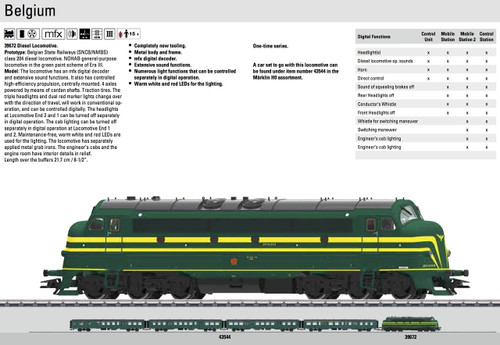 W441-39672  NOHAB Class 204 Diesel - 3-Rail w/Sound & Digital -- Belgian State Railways SNCB/NMBS (Era III, green, yellow)