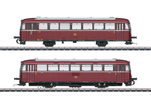 39978 Class VT 98.9 Railcar with VS 98 Cab Car - 3-Rail - Sound and Digital -- German Federal Railroad DB VT 98 9705, VS 98 306 (Era III 1960s, red, silver
