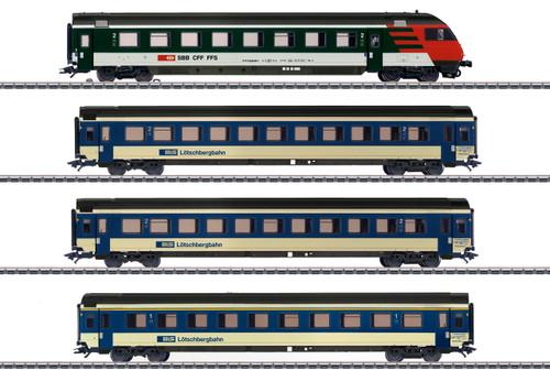 42175 Mark IV Express 4-Car Passenger Set - 3-Rail - Ready to Run -- Bern-Lotschberg-Simplon Railroad BLS (Era V 2000, blue, ivory and red, black