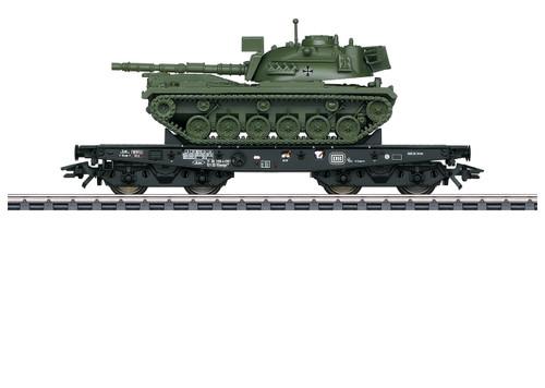 48796 Type Rlmmps 650 Heavy-Duty Flatcar with M-48 Tank - 3-Rail - Ready to Run -- German Federal Railroad DB 1 (Era IV, black, German Army Tank)