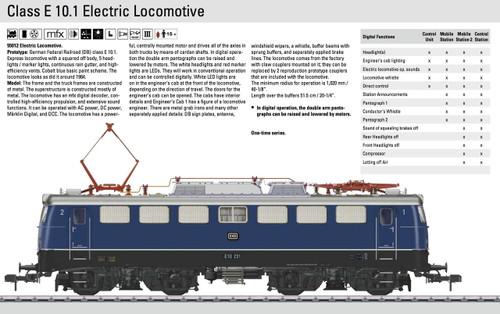 W441-55012  Class E 10.1 Electric w/Sound & Digital/DCC -- German Federal Railroad DB (Era III, blue, silver, black)