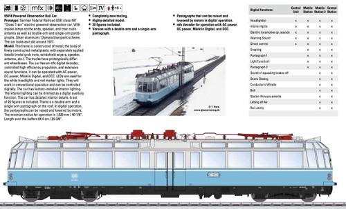 55918 Class 491 Glass Train Observation Electric Railcar w/Sound & Digital -- German Federal Railroad DB (Era IV, blue, white)