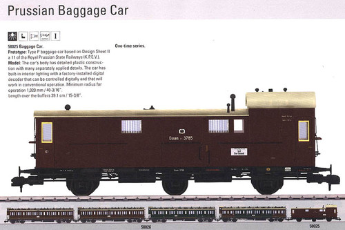 W441-58025  Type P Baggage Car w/Interior Light - Ready to Run -- Royal Prussian State Railways K.P.E.V. (Era I, brown)