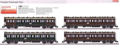 W441-58026  Royal Prussian Passenger Car Set w/Digital Interior Lights - Ready to Run -- KPEV (Era I) 1 Type ABC, 1 Type AB & 2 Type C Compartment Cars (brown, green